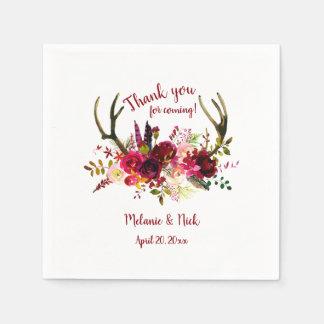 Rustic Boho Burgundy Floral antlers wedding decor Napkin