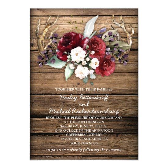 Rustic Boho Burgundy & White Roses Antlers Wedding Invitation
