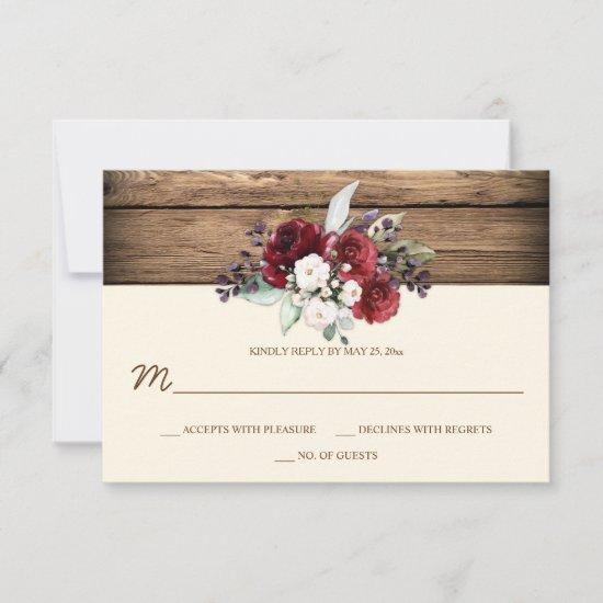 Rustic Boho Burgundy & White Roses Barn Wood RSVP Card