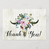 Rustic Boho Chic Floral Longhorn Skull Thank You