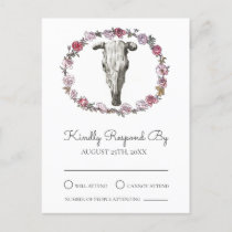Rustic Boho Cow Skull & Pink Roses Wedding RSVP Invitation Postcard