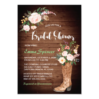 Rustic Boho Cowgirl Floral Boots Bridal Shower ll Card