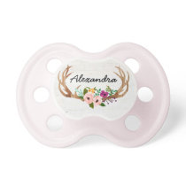 Rustic Boho Custom Name Pacifier