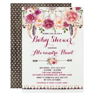 Bohemian baby shower invitations announcements zazzle rustic boho dreamcatcher baby shower invitation filmwisefo