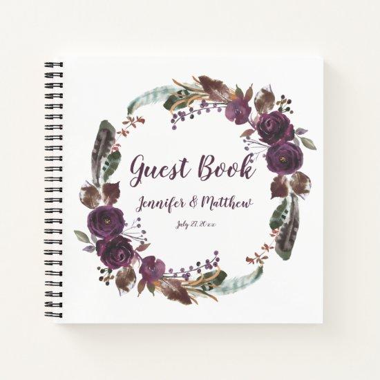 Rustic Boho Eggplant Purple Rose Wreath Guest Book