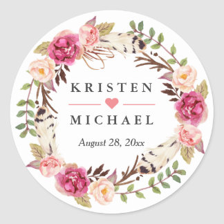Rustic Boho Feather Floral Wreath Wedding Favor Classic Round Sticker