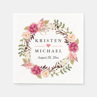 Rustic Boho Feather Floral Wreath Wedding Party Napkin