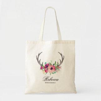 Rustic Boho Floral Antlers Wedding Bridesmaid Tote Bag