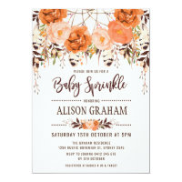 Rustic Boho Floral Autumn Baby Sprinkle Invitation