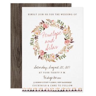 Rustic Boho Floral Wedding Invitations