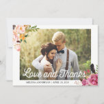 """Rustic Boho Floral Wedding Photo Love and Thanks Thank You Card<br><div class=""""desc"""">Customize this &quot;Rustic Boho Floral Wedding Photo Love and Thanks Card&quot; to express your appreciation to your guests, friends and family. It&#39;s easy to personalize to match your wedding colors, styles and theme. (1) For further customization, please click the &quot;customize further&quot; link and use our design tool to modify this...</div>"""