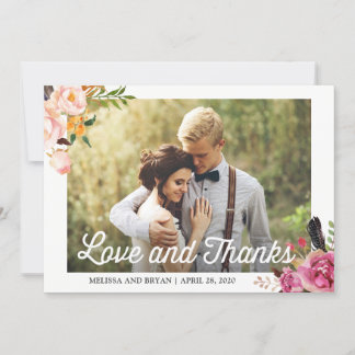 Rustic Boho Floral Wedding Photo Love and Thanks Thank You Card