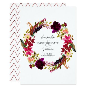 Wedding Themed Rustic Boho Floral Wreath Save The Date Wedding Card