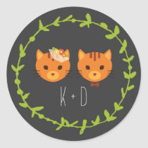Rustic Boho Forest Cats Wedding Invitation Classic Round Sticker
