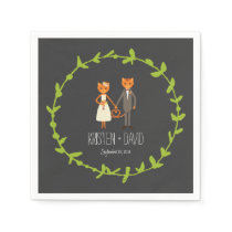 Rustic Boho Forest Cats Wedding Invitation Napkin