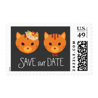 Rustic Boho Forest Cats Wedding Invitation Postage