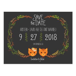 Rustic Boho Forest Cats Wedding Invitation Postcard