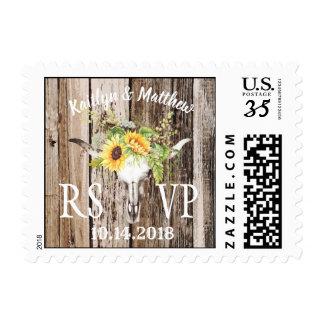 Rustic Boho Longhorn Skull Sunflower RSVP Wedding Postage