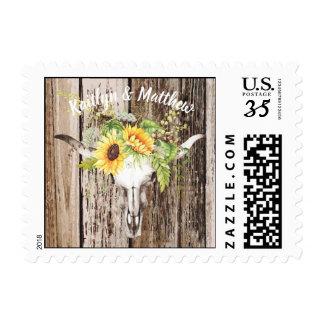Rustic Boho Longhorn Skull Sunflower Wedding Postage