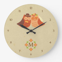 Rustic Boho Lovebird Owl Couple Large Clock