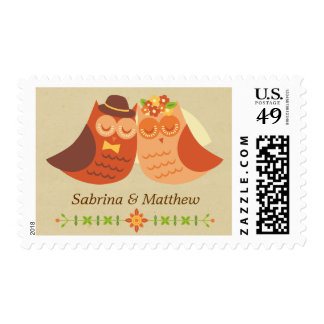Rustic Boho Lovebird Owl Couple Wedding Postage