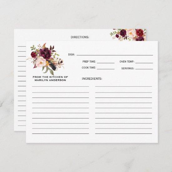 Rustic Boho Marsala Burgundy Floral Recipe Cards
