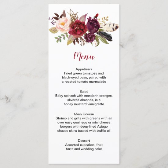 Rustic Boho Marsala Floral Feathers Wedding Menu