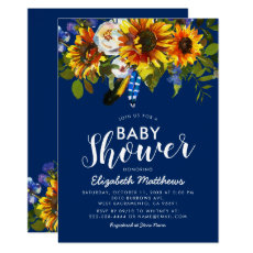 Rustic Boho Navy Blue Sunflower Baby Shower Invitation