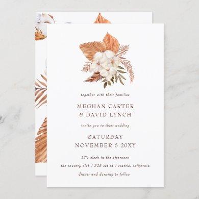 Rustic Boho pampas Grass Floral Desert Wedding Invitation