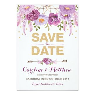 Rustic Boho Purple Gold Floral Save the Date Card
