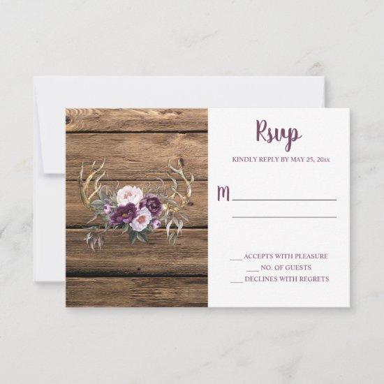 Rustic Boho Purple Plum Peonies Antlers RSVP Card