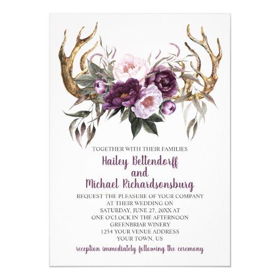Rustic Boho Purple Plum Peonies Antlers Wedding Invitation