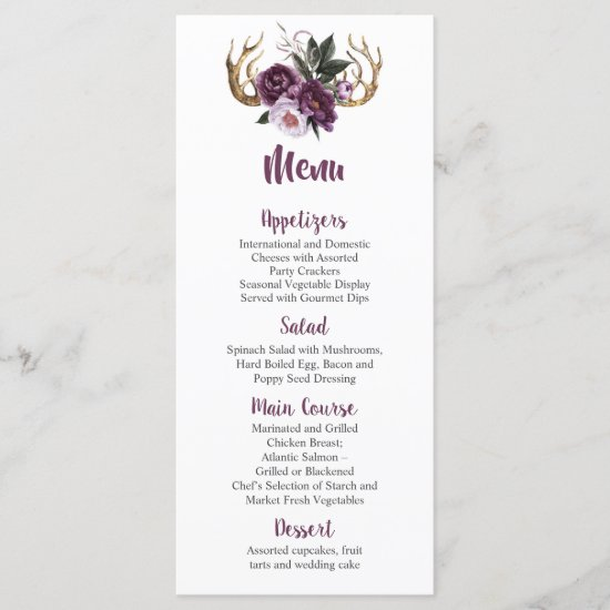 Rustic Boho Purple Plum Peonies Antlers Wedding Menu