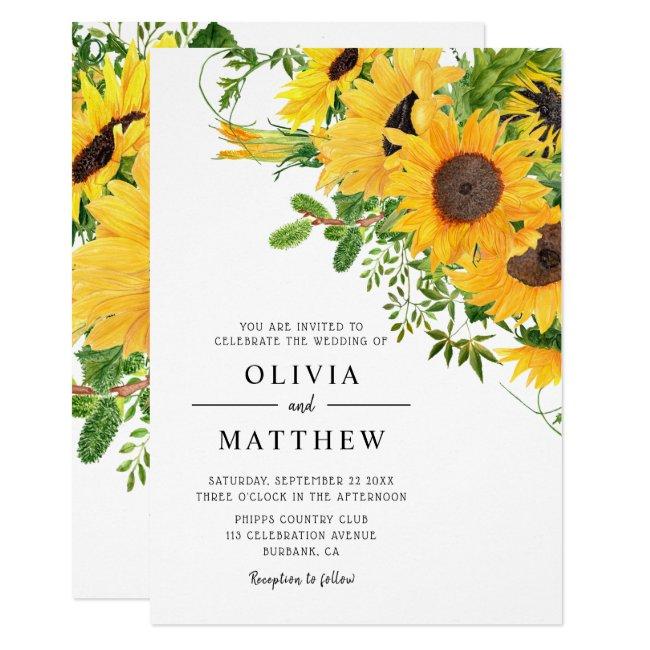 Rustic Boho Sunflower Floral Bouquet Wedding Invitation