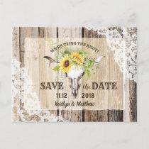 Rustic Boho Sunflower Longhorn Lace Save the Date Announcement Postcard