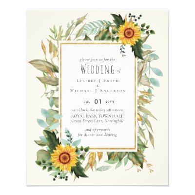 Rustic BOHO Sunflowers Greenery Wedding Flyer