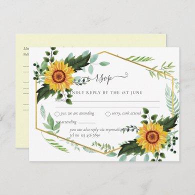 Rustic BOHO Sunflowers Greenery Wedding RSVP Postcard