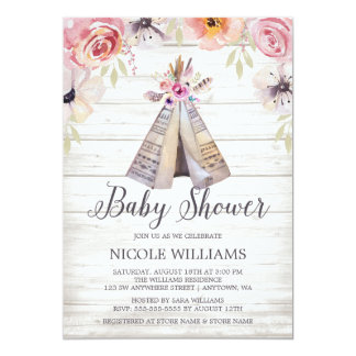 Rustic Boho Tribal Teepee Girl Baby Shower Card
