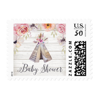 Rustic Boho Tribal Teepee Girl Baby Shower Postage