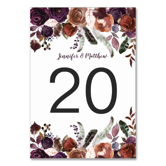 Rustic Boho Watercolor Eggplant Floral Table Table Number