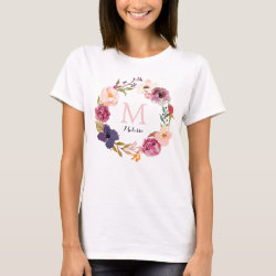 Rustic Boho Watercolor Floral Wreath Monogram T-Shirt