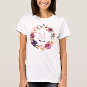 Rustic Boho Watercolor Floral Wreath Monogram T-Shirt
