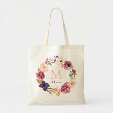 Rustic Boho Watercolor Floral Wreath Monogram Tote Bag at Zazzle