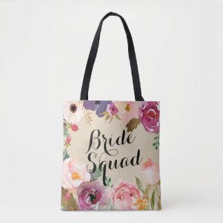 Rustic Boho Watercolor Flowers Bride Squad Tote Bag