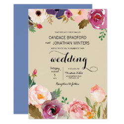 Rustic Boho Watercolor Flowers Wedding Card
