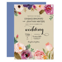 Rustic Boho Watercolor Flowers Wedding Card