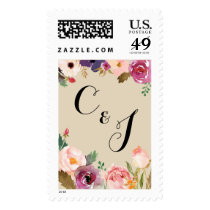 Rustic Boho Watercolor Flowers Wedding Postage