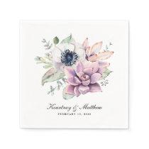 Rustic Boho Watercolor Succulent Floral Paper Napkin