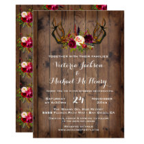 Rustic Boho Wedding Invitation with deer antlers