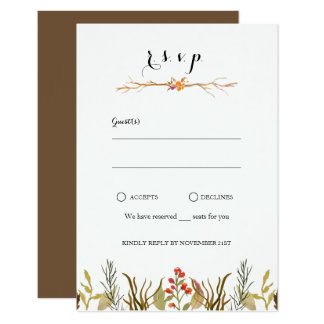 Rustic Boho Woodland Animals Watercolor Wedding Card